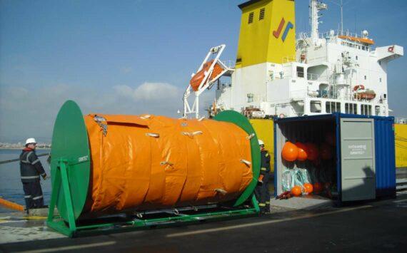 Barrera de contencíon de flotadores planos